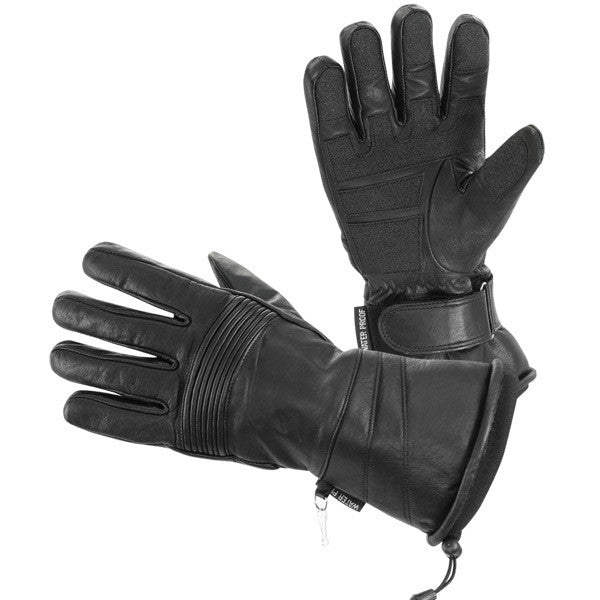 Classic Gauntlet Style Waterproof Leather Women's Motorcycle Gloves