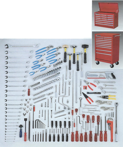 Wright Tools VMG 264 Pc. Master Metric Maintenance Set with WT814 Twelve-Drawer Chest & WT896 Eleven-Drawer Roller Cabinet