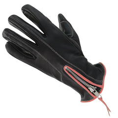 Classic Women's Zippered Black/Pink Leather Motorcycle Gloves
