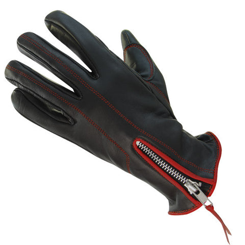 Classic Women's Zippered Black/Red Leather Motorcycle Gloves