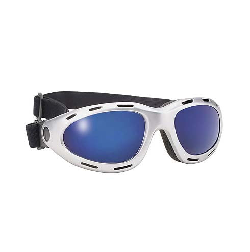 Biker Goggles Silver Frame Blue Mirror Lens With Polycarbonate & 400 UV Protection