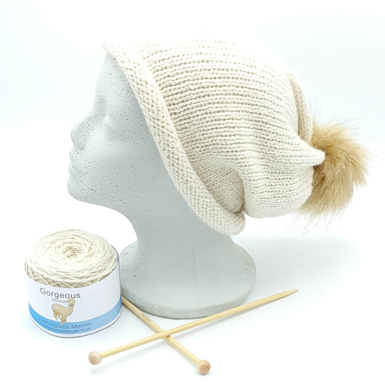 Knit Kit - Aran Roll-up Longdrop Hat - Gorgeous Alpacas