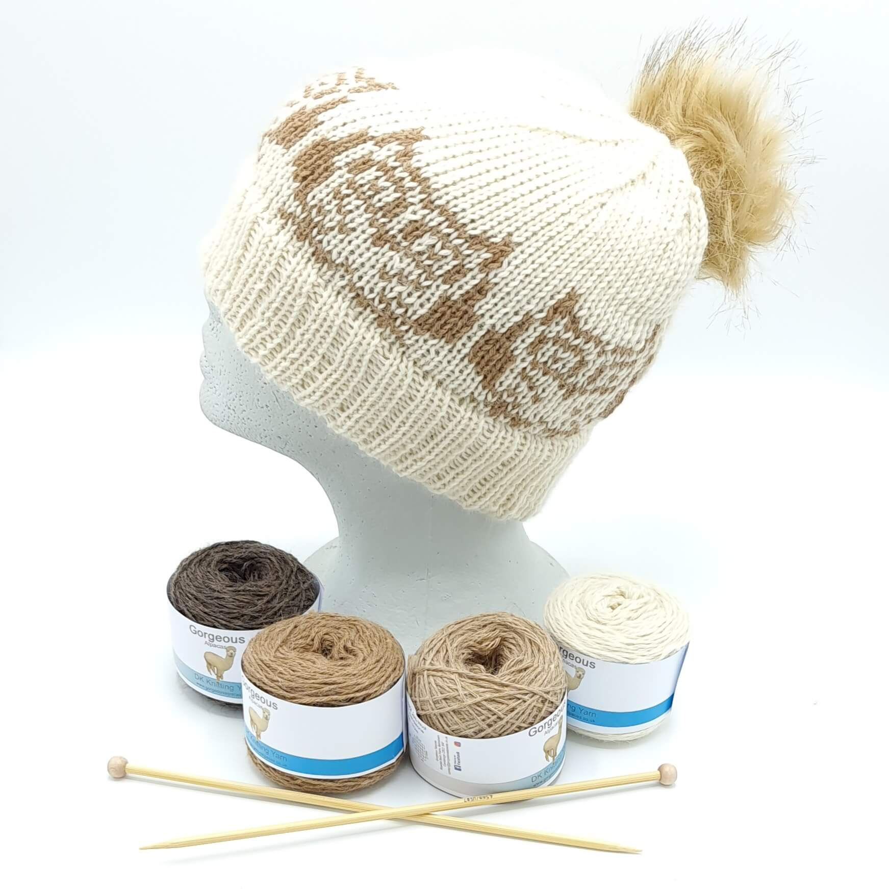 Knit Kit - Wise Owl Beanie + - Gorgeous Alpacas