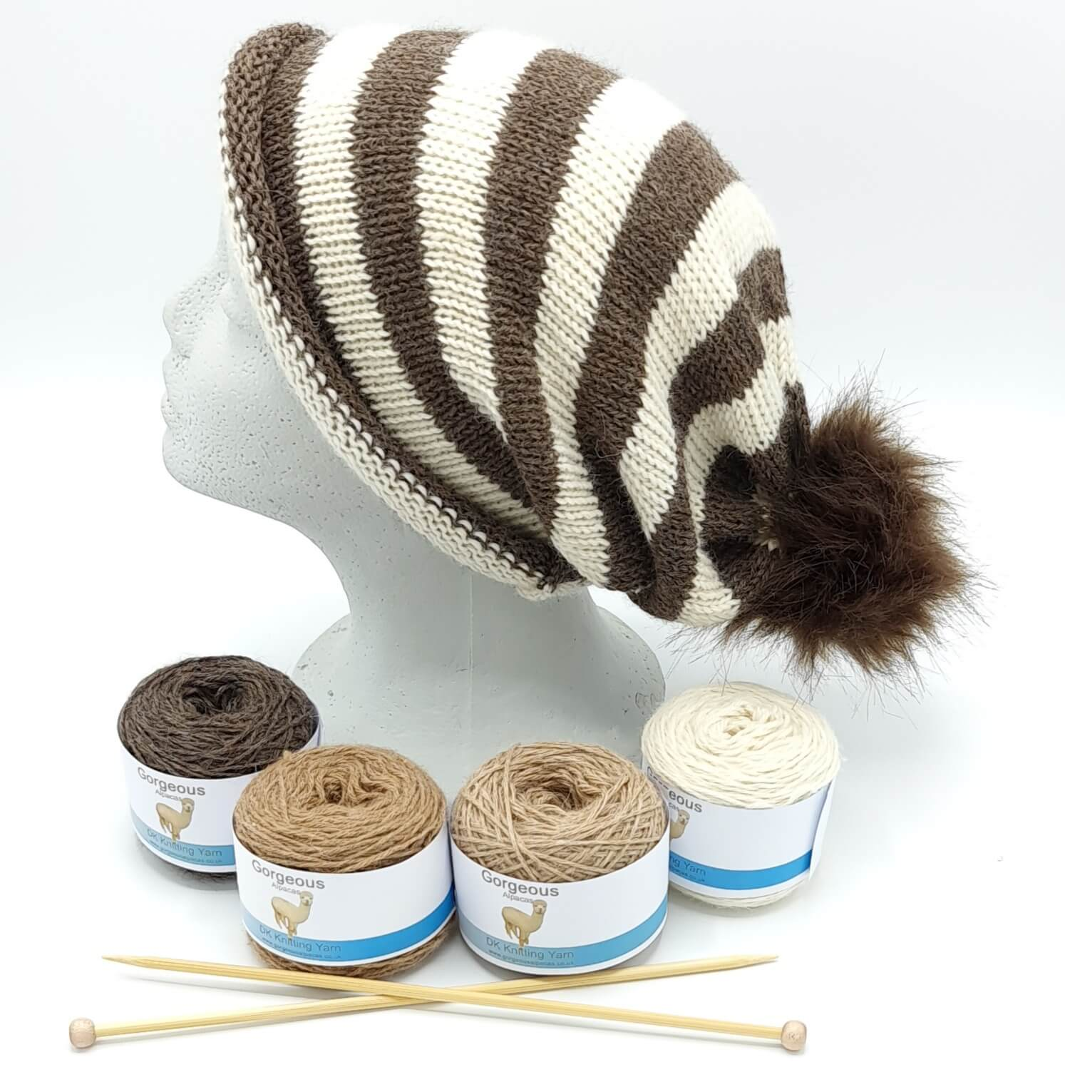 Knit Kit - Striped Easy to Knit + - Gorgeous Alpacas