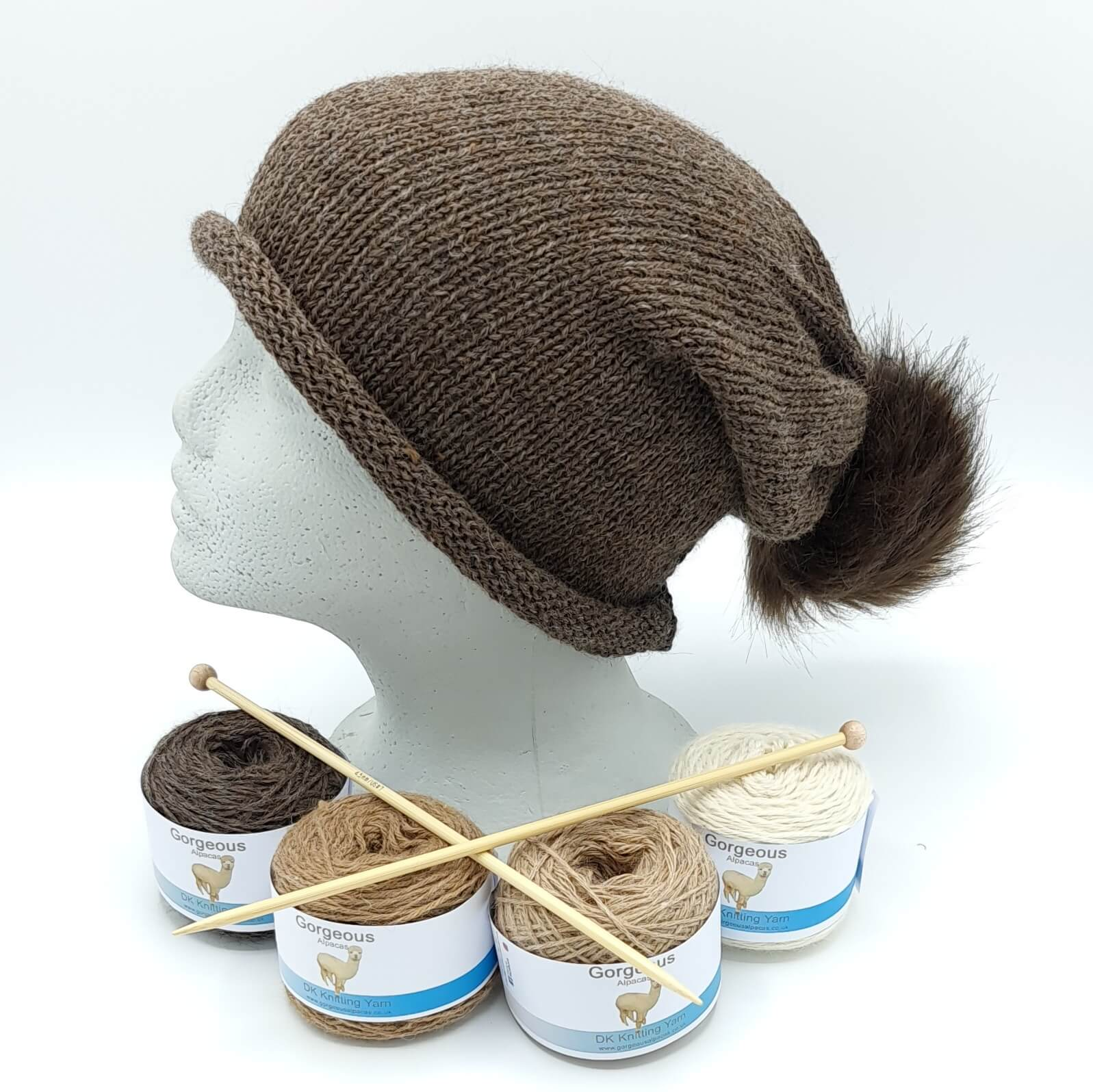 Knit Kit - Roll-up Longdrop Hat +