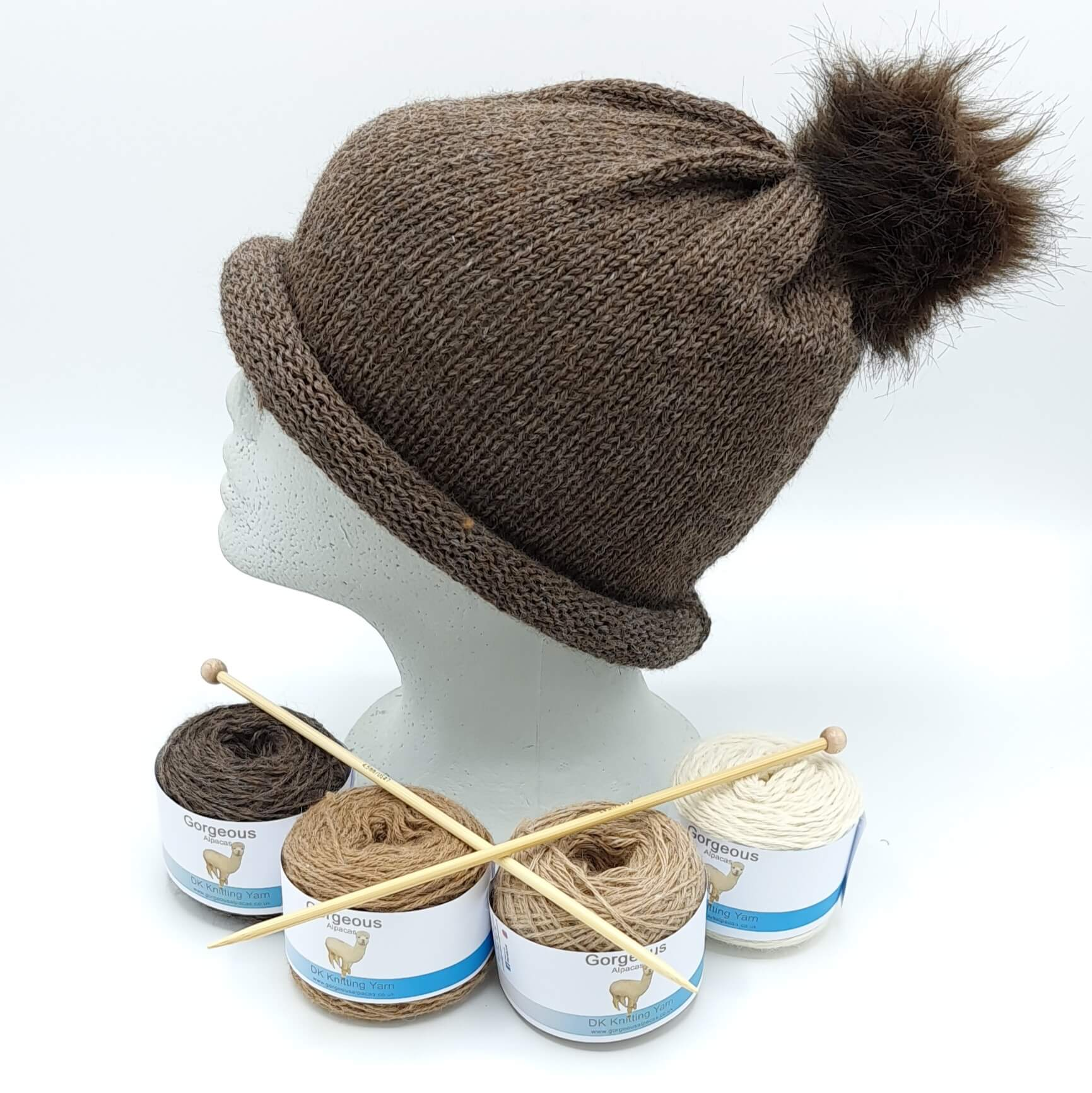 Knit Kit - Roll-up Longdrop Hat + - Gorgeous Alpacas