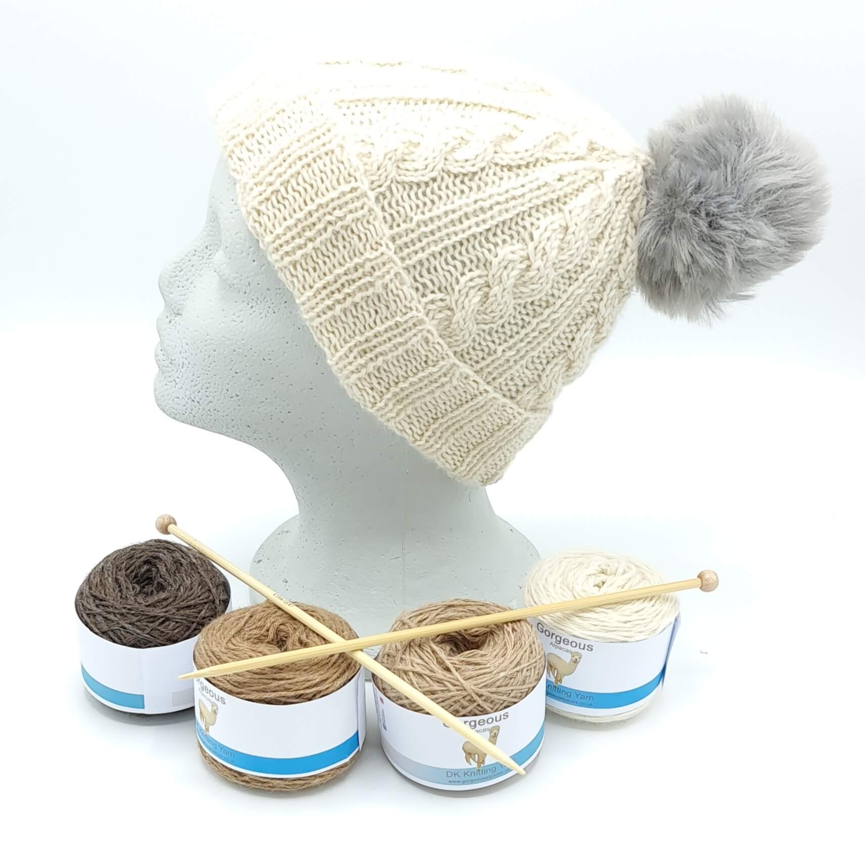 Knit Kit - Cable Beanie + - Gorgeous Alpacas