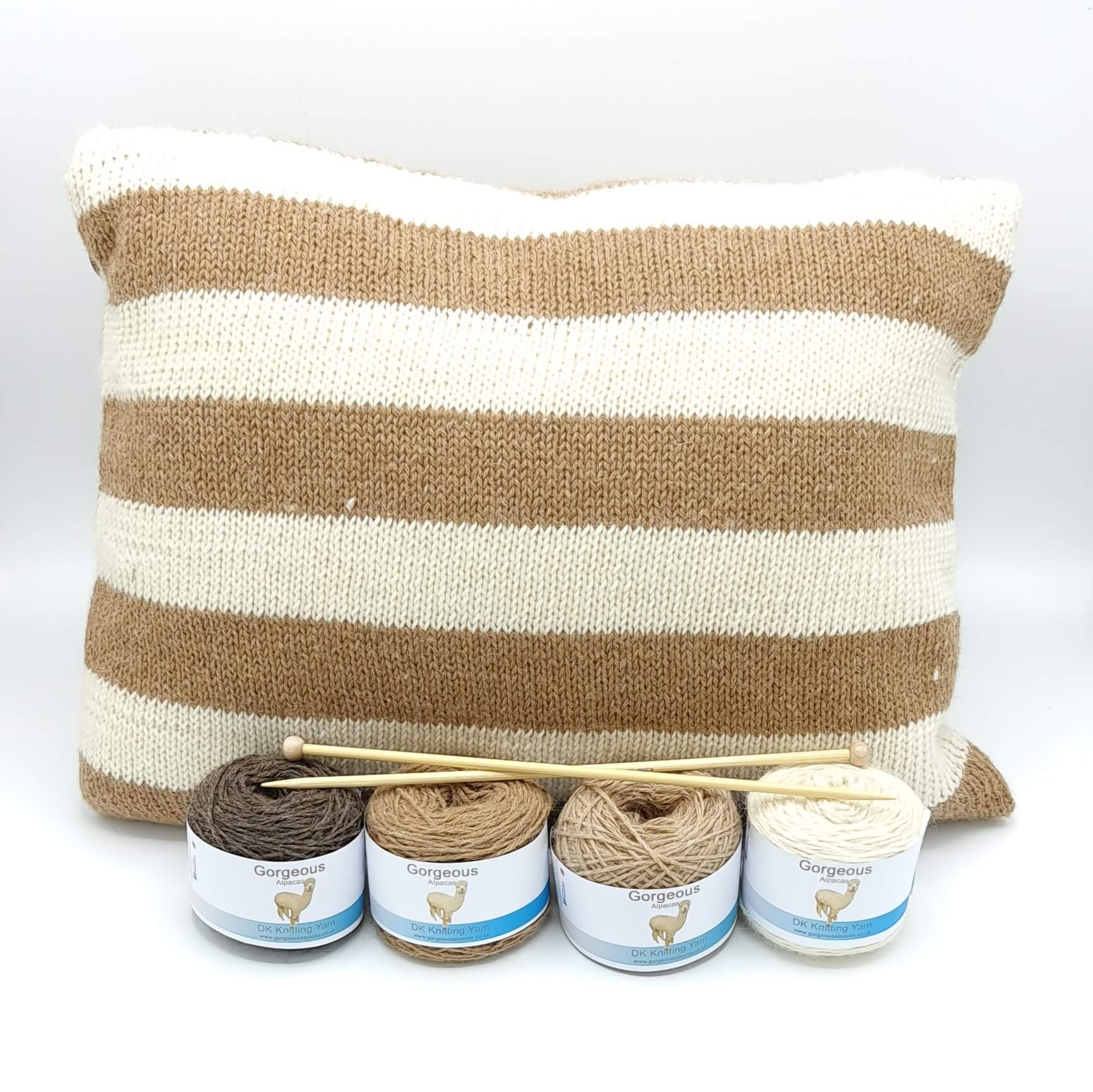 Knit Kit - Supersoft Striped Cushion