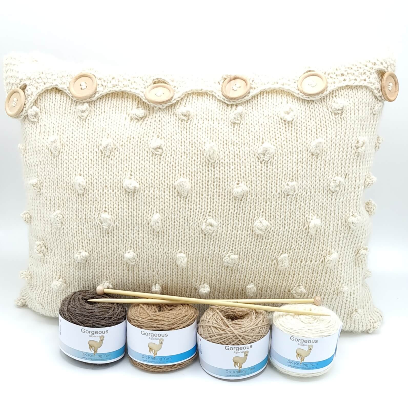 Knit Kit - Supersoft Cable & Bobble Cushion