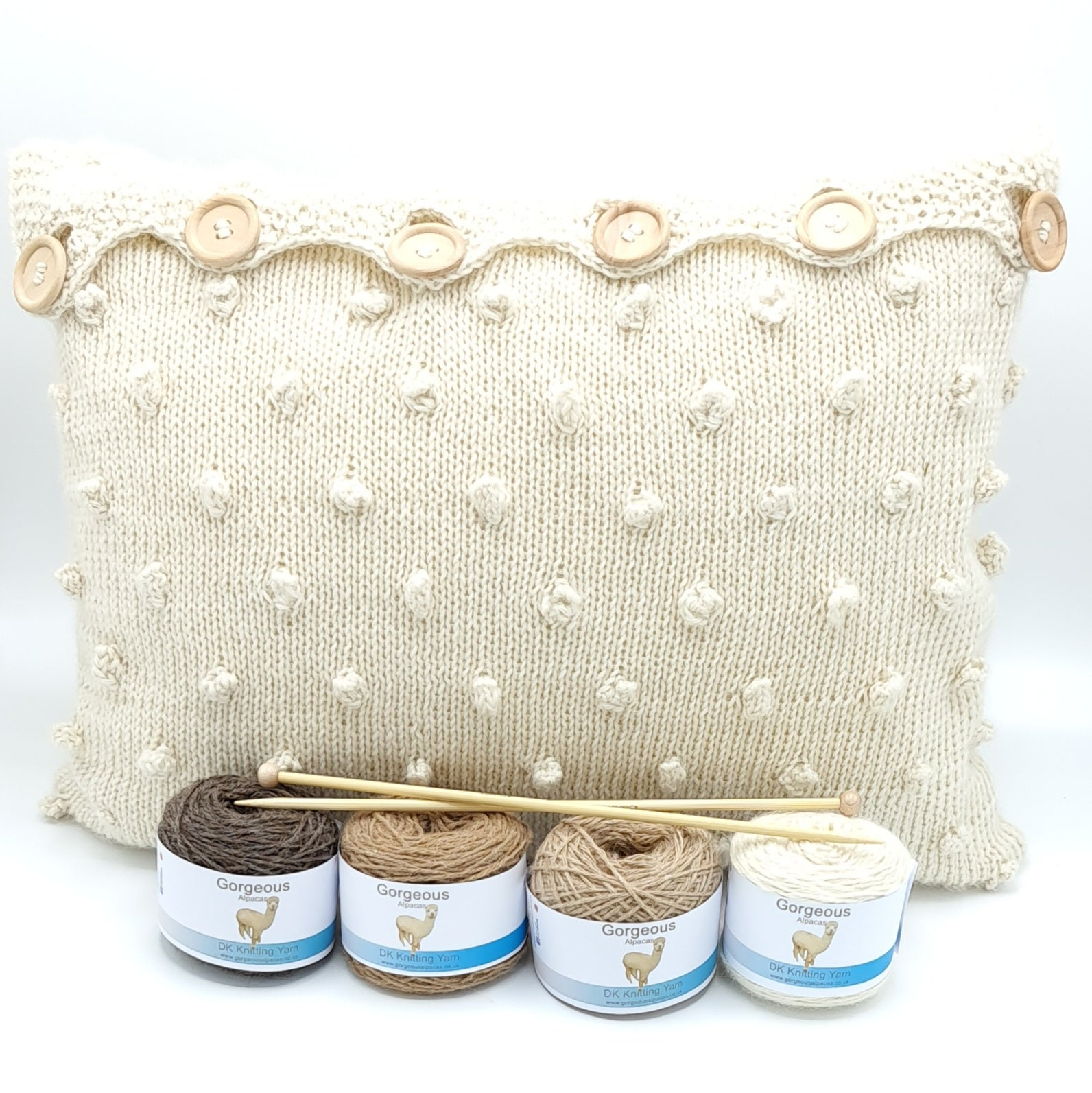 Knit Kit - Cable & Bobble Cushion +