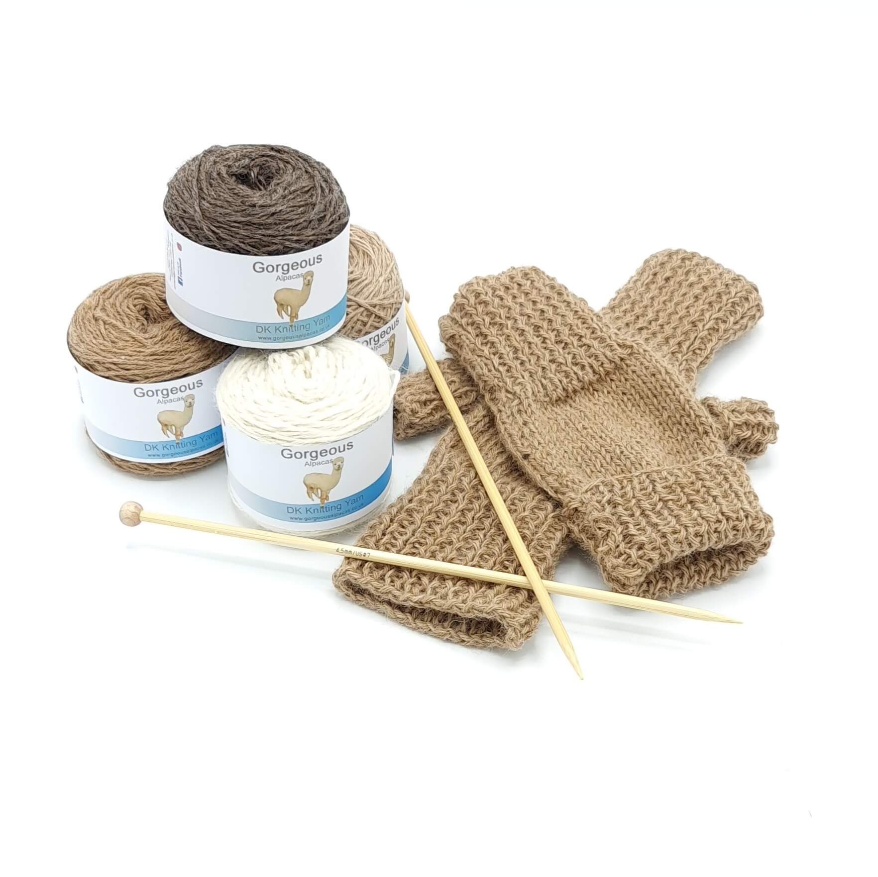 Knit Kit - Fingerless Fold-up Mittens + - Gorgeous Alpacas
