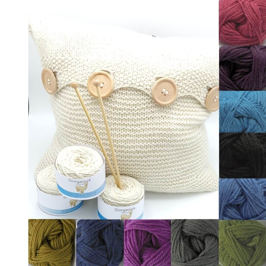 Knit Kit - Lightweight Beginners Cushion + - Gorgeous Alpacas