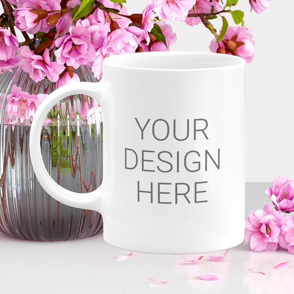 11oz Personalized Ceramic Coffee Mug White - add your own logo, text, images or artwork