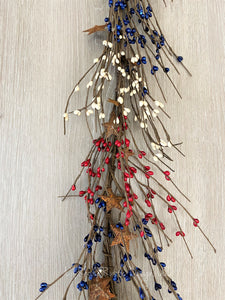 Red, White, and Blue with Metal Stars Pip Berry Garland