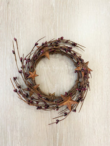 "Burgundy Rusty Star, 4.5"" Candle Ring"
