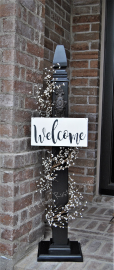 Decorative Porch Post And Welcome Sign