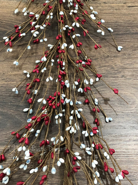 Gray and Red Pip Berry Garland