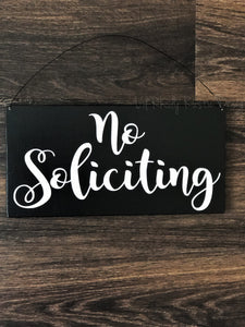 No Soliciting Hanging Sign