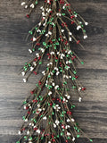 Red, Green and White Pip Berry Garland