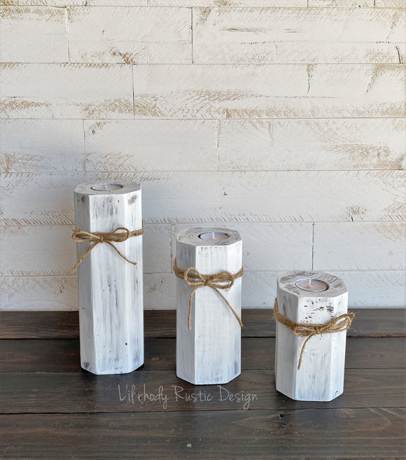 Wood Block Tealight Candle Holders, Rustic Candle Holder, Farmhouse Tealight Holder, Wood Candle Holder