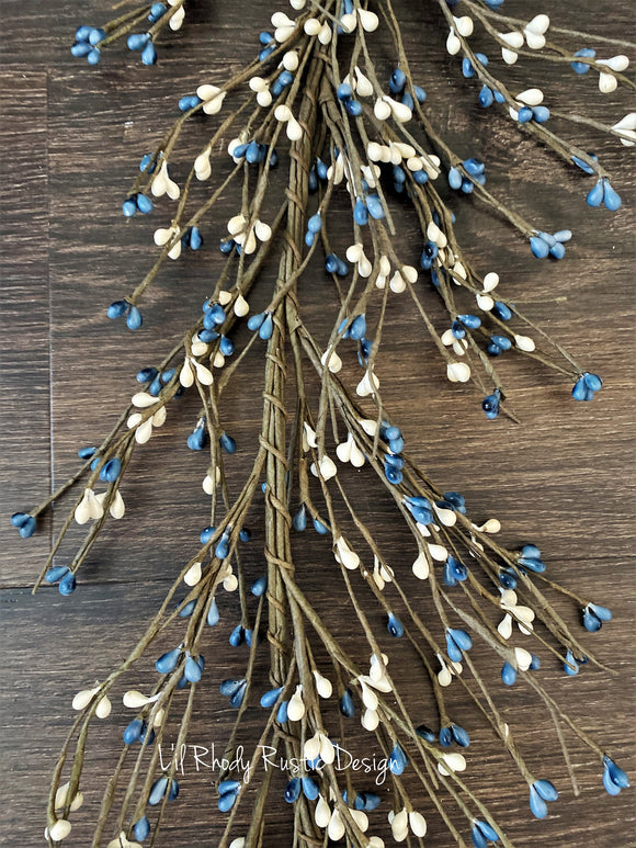 Country Blue and White Pip  Berry Garland