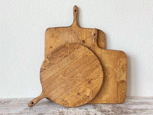 Set of Three French ReClaimed Charcuterie, Bread Boards, Medium Rectangle, Small Square, and Small Round