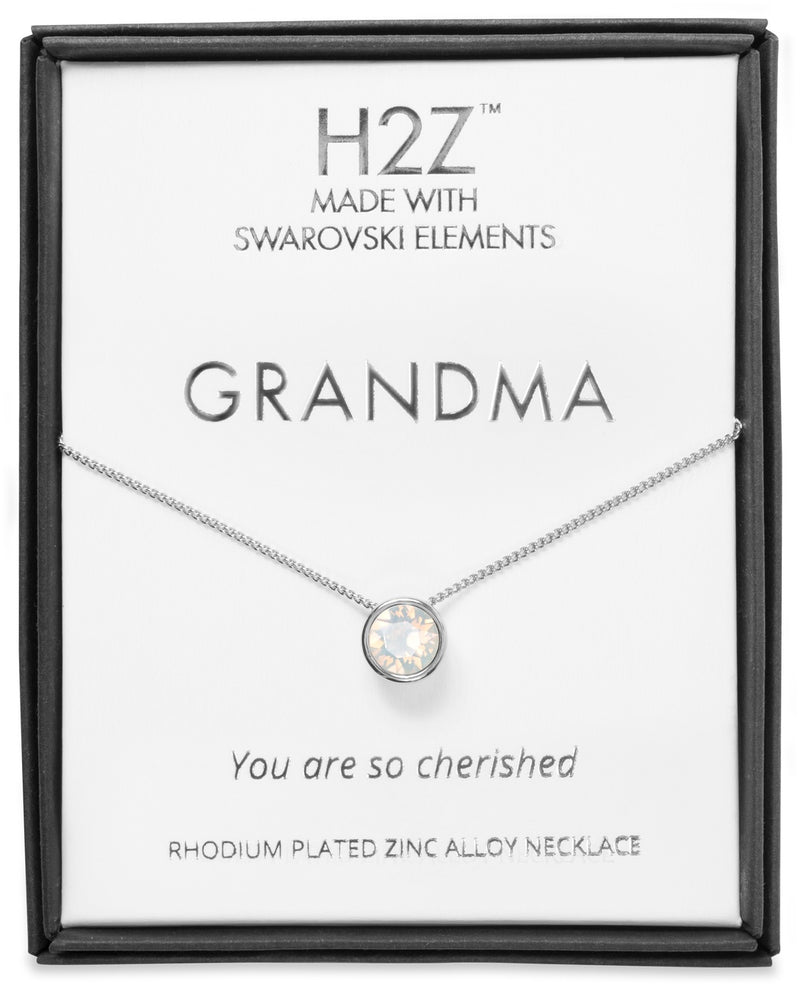 "H2Z  Grandma White Opal - 16"" - 17.5"" Rhodium Necklace"