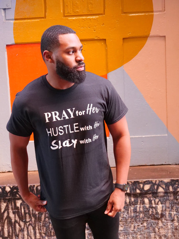 PRAY HUSTLE SLAY LIMITED EDITION COUPLE HIS/HER UNISEX T-SHIRT - Pray Hustle Slay
