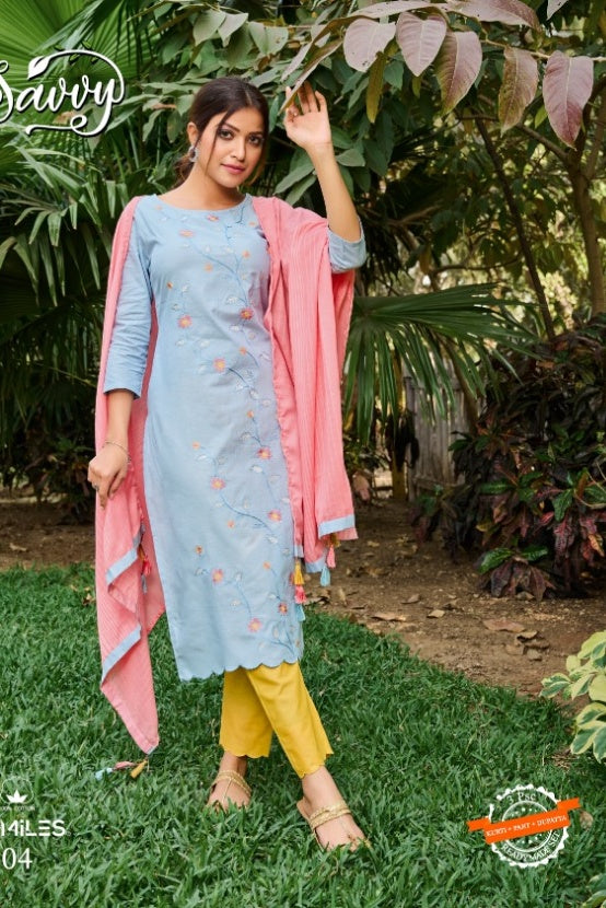 100 MILES SAVVY COTTON REGAL LOOK KURTI WITH PANTS AND DUPATTA CATALOG