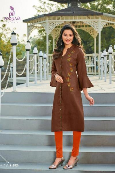 Poonam Diva 9 Cotton Work Designer Kurtis Catalog Collection - theempirehubs