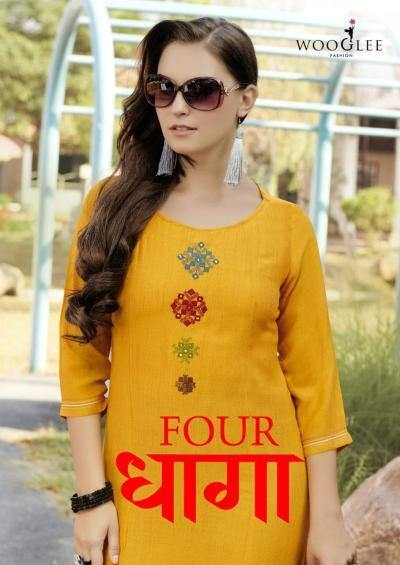 Wooglee Four Dhaaga Rayon Exclusive Colors Kurtis Catalog Collection - theempirehubs