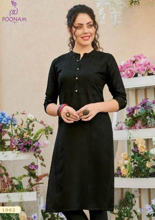 Poonam Pintex Pure Rayon Straight Cut Plain Kurti Catalog Collection - theempirehubs