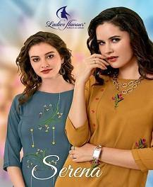 Ladies Flavour Serena Heavy Rayon Straight Cut Casual Wear Kurti Catalog Collection - theempirehubs