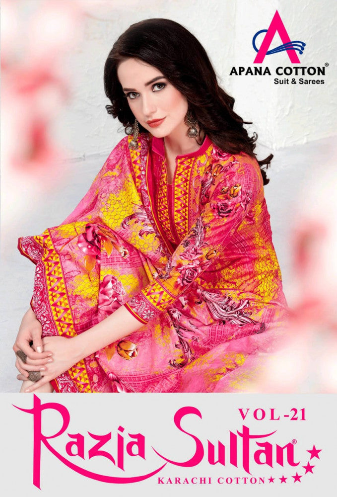 Apna Cotton Razia Sultan Vol-21 Karachi Cotton Dress Material Catalog Collection