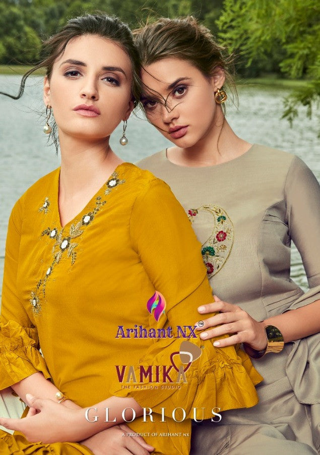 Arihant Nx Glorious Maslin Silk Kurti With Plazzo Catalog Collection