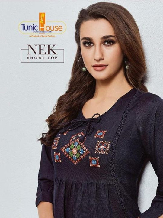 Tunic House Nek Rayon Short Tops Catalog Collection