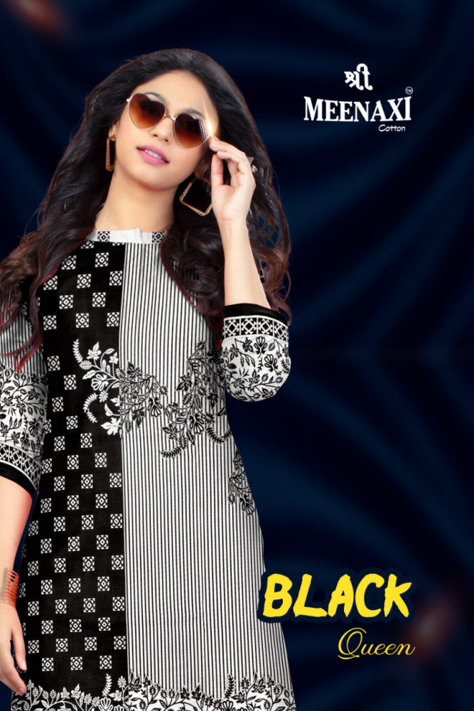 Meenaxi Cotton Black Queen Printed Cotton Dress Material Catalog