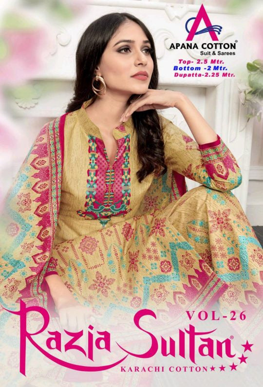 Razia Sultan Vol-26 Karachi Cotton Dress Material Catalog