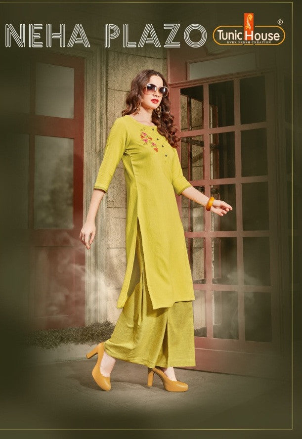 Tunic House Neha Plazo Kurti With Palazzo Catalog