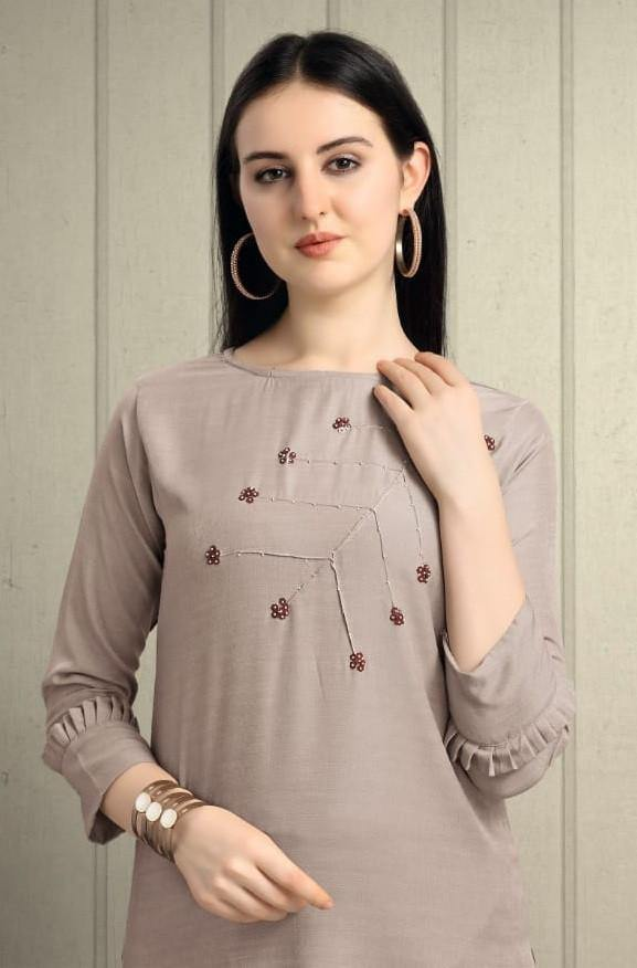 Alpha Queen Vol-16 Poly Rayon Straight Kurti With Hand Work Kurti Catalog - theempirehubs