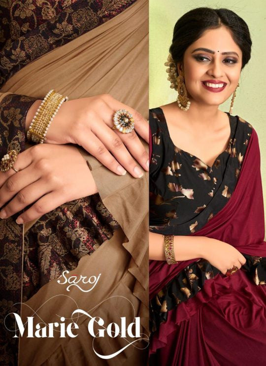 Saroj Marie Gold Lycra Frill Saree Catalog Collection