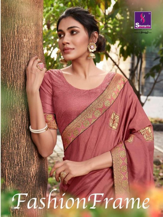 Shangrila Fashion Frame Dola Silk Saree With Designer Embroidery Work And Swarouski Touch Catalog
