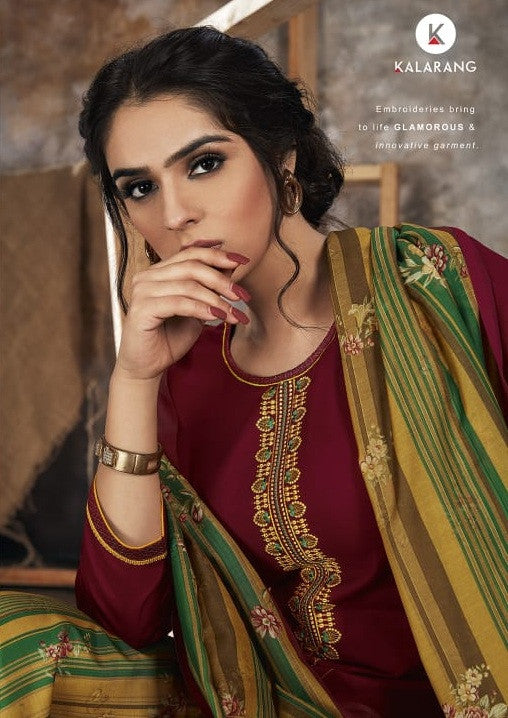 Kalarang Fashion Bindiya Jam Satin Dress Material Catalog