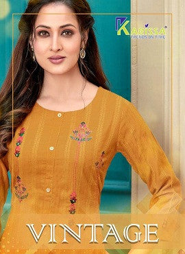 Karissa Vintage Heavy Rayon Straight Cut Kurti Catalog Collection