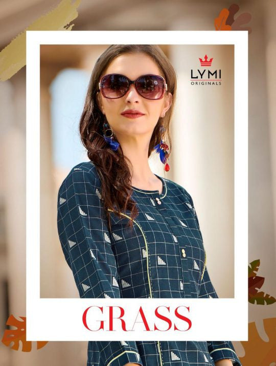Lymi Grass Cotton Weaving Straight Pattern Kurti Catalog
