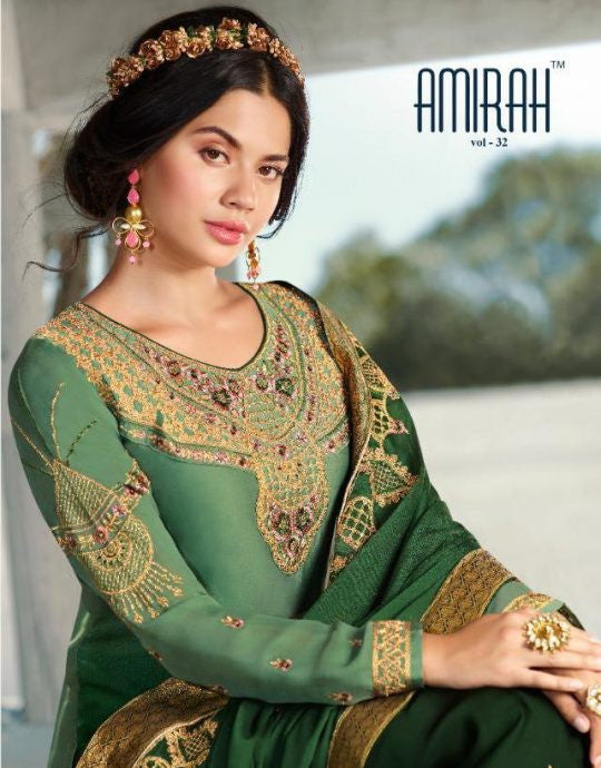 Amirah vol 32 Fantastic Satin Georgette With Heavy Duppata And Bottom Work  Salwar Kameez Catalog