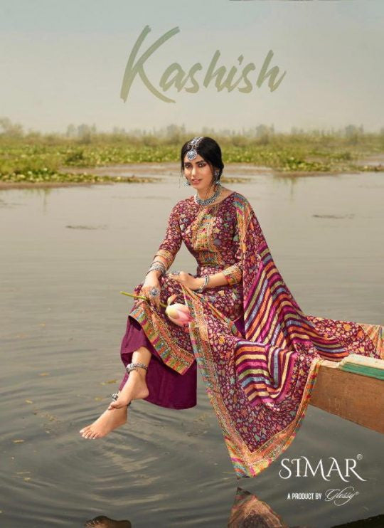 Glossy Simar Kashish Viscose Muslin Silk unstithced Salwar Suit Catalog