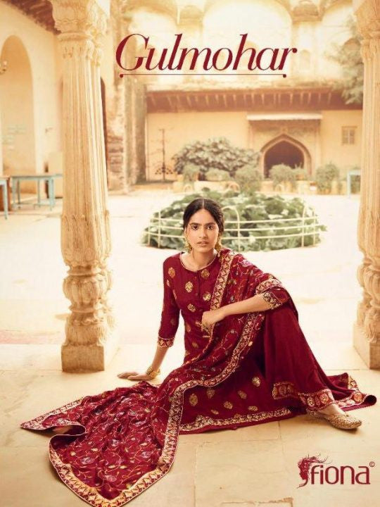 Fiona Gulmohar Dola Jacquard with Hand Work Dress Material Catalog
