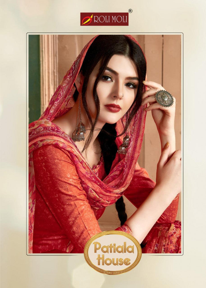 Roli Moli Patiala House Pure Camric Nagative Print with fancy Button Suits Catalog