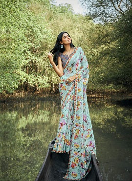 Sanskar Heena Fancy Wear Georgette Sarees Collection